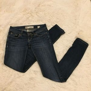 vBKE Stella Skinny Dark Denim Ultra Low Rise Jeans
